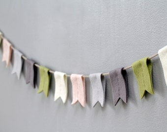 Notched Bunting Flag Felt Garland. Succulent Garden Nursery Wall Decor. Nursery Bunting Decor.