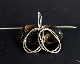 rustic silver dangle earrings big handmade artisan jewelry Eco friendly recycled silver