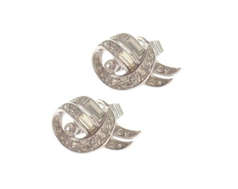 Crown Trifari Earrings, Vintage Designer Rhinestone Clips, Bridal Jewelry, 1950s Fine Vintage Jewelry, Wedding Jewellery