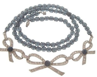 Sapphire Art Deco Necklace, 1920s Antique Bow Motif Necklace, Czech Glass Sapphire, Wedding Jewelry