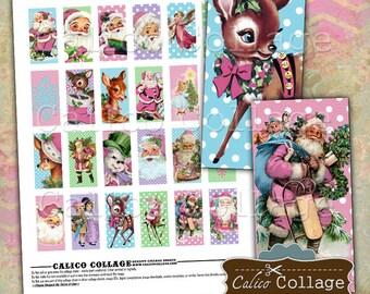 Cute Christmas, 1x2 Domino Images, Pink Santa, 1x2 Collage Sheet, Retro Christmas, Digital Collage Sheet, Printable Paper, Decoupage Paper