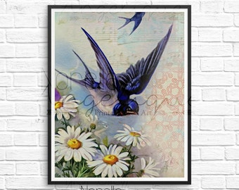 Blue Bird Wall Art, Vintage Bird Art, Printable Wall Art, Printable Art, Wall Art, Wall Decor, Printable, Art Print, Wall Print, Digital Art