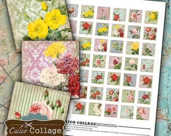 Printable Digital Collage Sheet, Shabby Chic Floral, 1x1 Inch Squares, Printable Images, Instant Download, Vintage Flowers