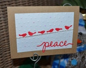 Bird on a  Wire Christmas Cards, Holiday Cards, Embossed, Snowflake, Peace, Glitter, Cards, Handmade