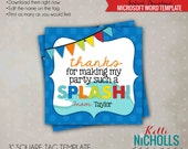 Water Birthday Party Favor Tag Template, Summer Wave Pool Birthday, Instant Download - Boy Colors #B114-B