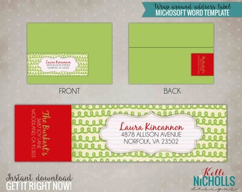 Christmas Swirl Wrap Around Address Label Template - Instant Download