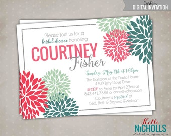 Custom Rustic Modern Floral Bloom Bridal Shower Invitation, Bright Spring Wedding Shower Invite