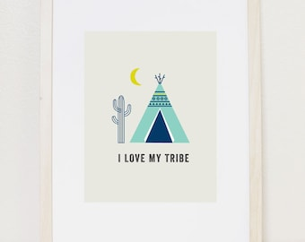 Family Art Print 8x10, Tee Pee Print, Tribal Print, Family Print, blue tee pee, i love my tribe