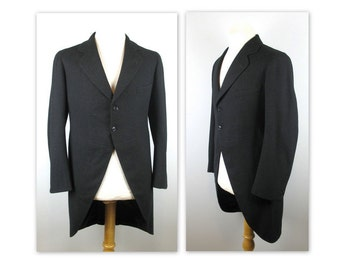 Vintage 40s Cutaway Morning Jacket Coat by Canterbury Clothes S 38 to 40 estimated