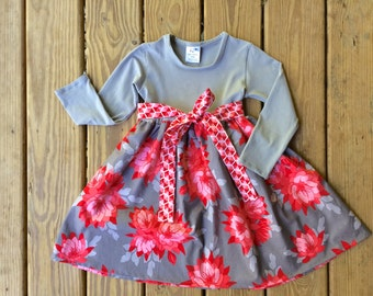 Heather Tshirt Dress by Red Wagon Kids Floral Knit Dress for Girls Red Pink Gray Holiday Redwagonkids