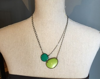 Lime green and jade necklace Ready to Ship