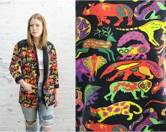 vintage rainbow jungle animal print slouchy blazer / bright color oversize jacket