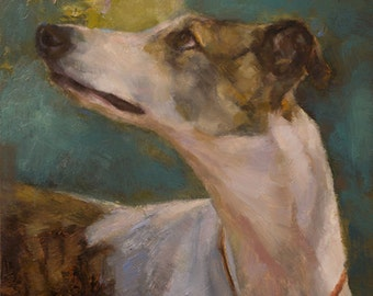 Original Framed Oil Painting - Greyhound