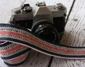 Camera Strap dSLR - Linen, Lace and Velvet - Cute Camera Strap - Nikon Camera Strap - Canon Camera Strap
