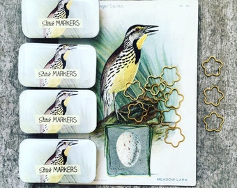 Bird Stitch Marker Tin, notions tin, sewing needle box