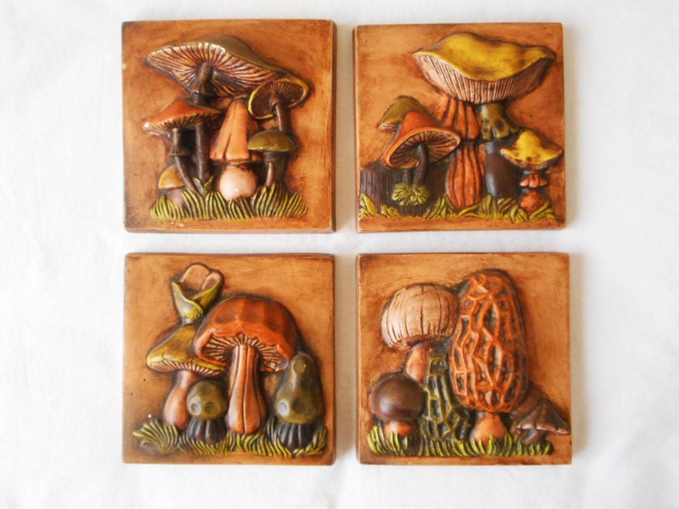 1970s Botanical Mushrooms Wall Decor Ceramic Plaques 5