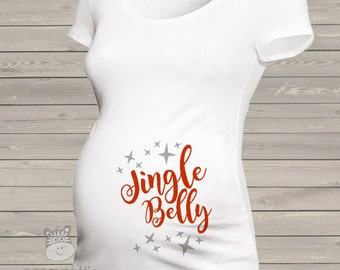 Christmas jingle belly whimsical long or short sleeve maternity or non maternity pregnancy Tshirt