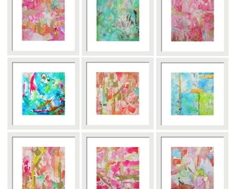 Set of 9 Abstract Watercolor Prints Gallery Wall Art Set, Art Print Set, Home Decor, Home Office Wall Art, Abstract Print, Abstract Painting