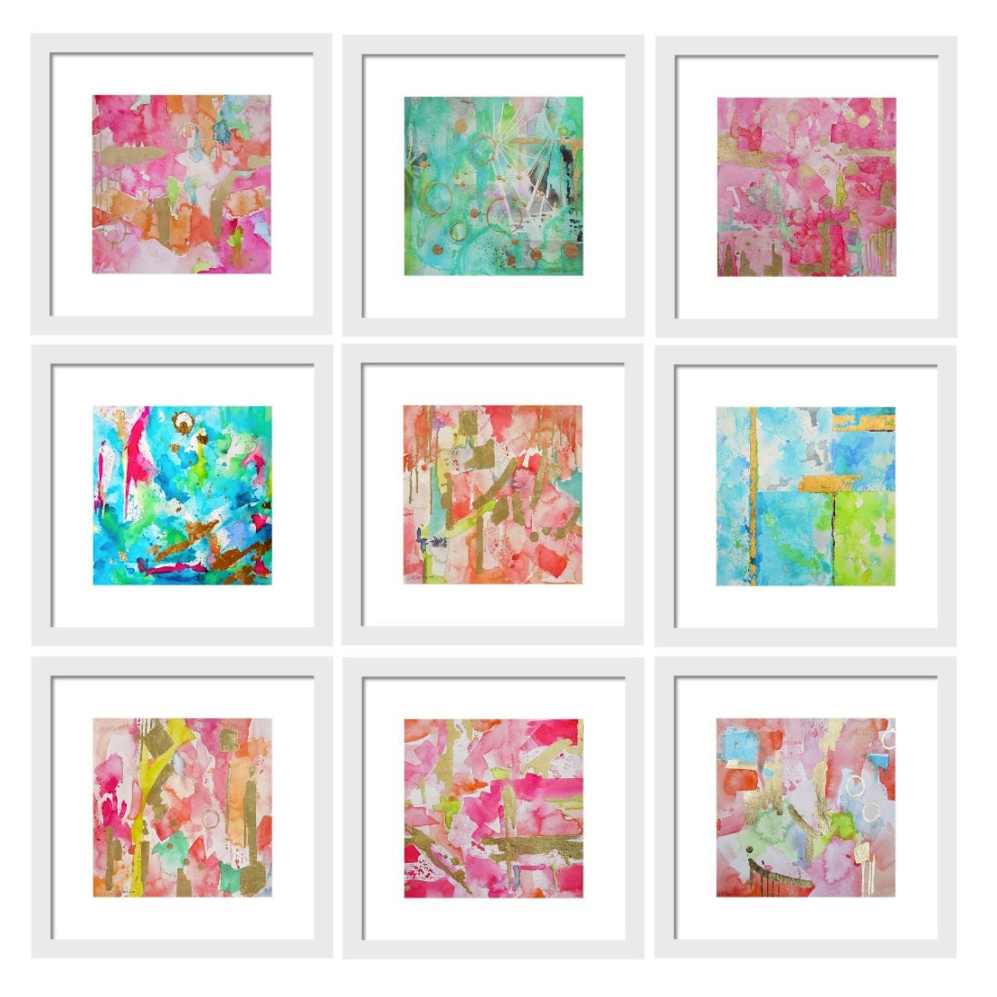 Set Of 9 Abstract Watercolor Prints Gallery Wall Art Set Art