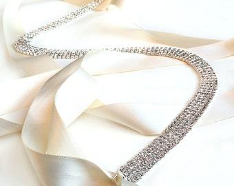 Skinny Silver Wedding Dress Belt Sash - Custom Satin Ribbon - Extra Long Crystal Bridesmaid Belt Sash Bridal Belt Sash