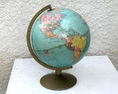 """Replogle 12"""" Diameter Globe """"Reference Globe""""  - with Metal base and Metal hardware, Pale Turquoise Blue"""