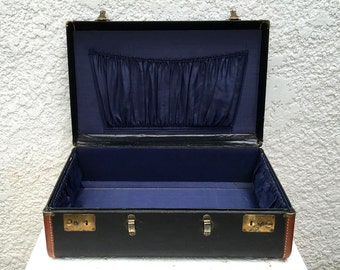 Vintage Black Suitcase, Brown Leather Trim  - Royal Blue Silky Interior, Brass Hardware
