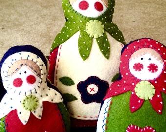 3 MATRYOSHKA Babushka Felt Russian Dolls