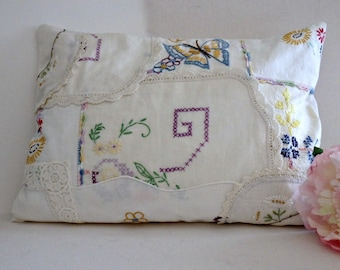 Vintage Embroidery Patchwork Cushion, Vintage Linen Pieced Lumbar Pillow