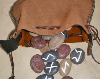 Lake Superior Beach Stone Rune Set and Leather Drawstring Pouch