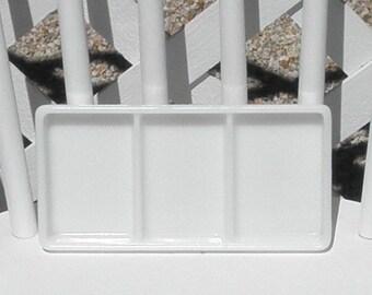 Milk Glass Dental Tray Rare Three Section WD Allison 0819 Organizer Beading Jewelry Crafting Vanity Cosmetics Office Vintage