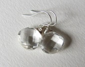 Bridal Jewelry - 14mm Clear Rock Crystal Gemstone Earrings - Wire Wrapped Wedding Fashion - Classic Design for Her