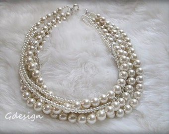 Bridal  Pearl Necklace. Wedding  Handmade Chunky Layered Ivory Pearl  Necklace , Rhinestone Chain Necklace.