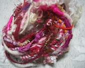 Handspun Corespun Embellishment Worsted Weight Party Art Yarn in Pink Wool with Sparkle, Ribbon, and White Wool Locks  by KnoxFarmFiber