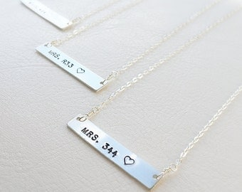 Badge number Police wife necklace, Silver bar necklace with badge number, thin blue line, LEO, law enforcement, support the police, Officer