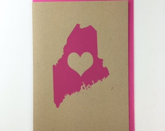 Maine Love Blank Card with Envelope Silkscreened on Recycled Kraft Paper Compostable Plastic Sleeves