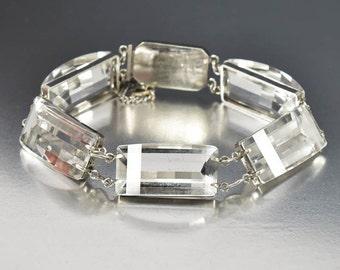 Rock Crystal Quartz Bracelet, Sterling Silver Art Deco Bracelet, Quartz Crystal Bracelet, Antique Wedding Jewelry, Faceted Gemstone Bracelet