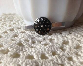 Vintage Tie Bar Enamel Tie Clip Clock Face Tie Clasp
