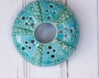 large urchin wall hanging, urchin tabletop sculpture, aqua