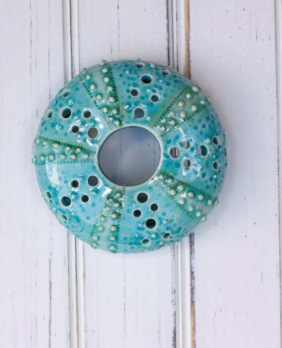 large urchin wall hanging, urchin tabletop sculpture, aqua