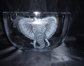 African Theme Wedding Gift, Etched African Animals,  Glass African Animals, Big Five Images, Class Carving, Large Hand Carved Glass Bowl,