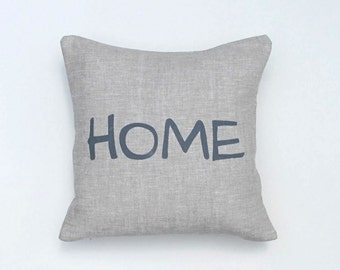 Pillow Cover - Cushion Cover - HOME - 12 x 12  inches - Choose your fabric and ink color - Accent Pillow