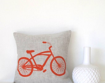 Pillow Cover - Cushion Cover - Cruiser Bike - 12 x 12  inches - Choose your fabric and ink color - Accent Pillow