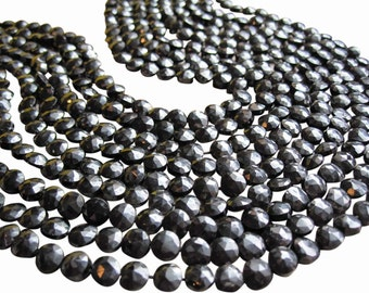 Black Spinel Beads, Faceted Coin, Black Gemstone, SKU 2907