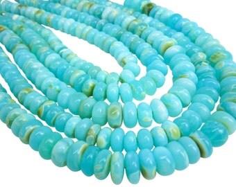 Blue Peruvian Opal Beads, Peruvian Opal Beads, Blue Opal Beads, Rondelles, 10-11mm, SKU 4851