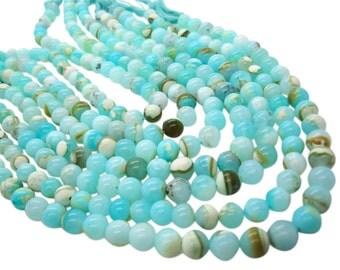 Blue Peruvian Opal Beads, Peruvian Opal Beads, Blue Opal Beads, Round, Aqua Gemstone, Wholesale Opal, SKU 4961