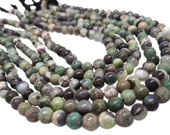 Green Opal Beads, Smooth Round, 5mm to 5.5mm, Green Opal, SKU 4473A