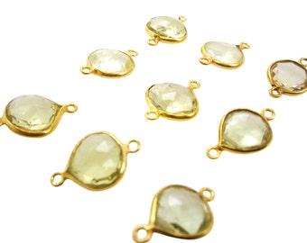 Yellow Topaz Connectors, Lemon Topaz Drop, 22KT Gold Vermeil over 925 Sterling Silver, Double Bail, SKU 3615