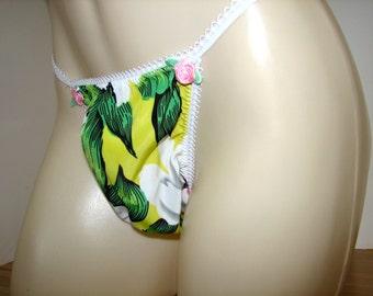 Pretty Spring Flower Print String Bikini Dress Up Sissy Panties Roomy  Wide Front for Men Full Open or Bum Hugging Seam Bum