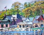 Philadelphia Boathouse Row Painting Schuylkill River Art Print by Gwen Meyerson