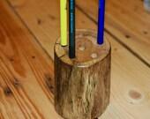 Oak log desktop pen/pencil holder